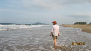Dad getting into the Indian Ocean